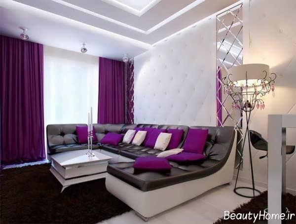 دکوراسیون داخلی شیک و مدرن خانه با رنگ بنفش