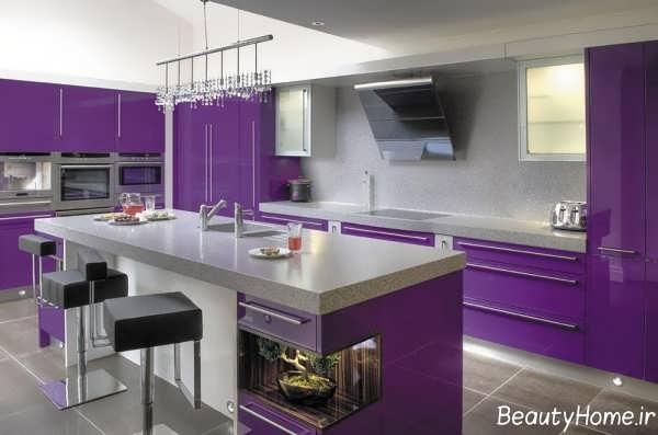 دکوراسیون داخلی آشپزخانه مدرن بنفش