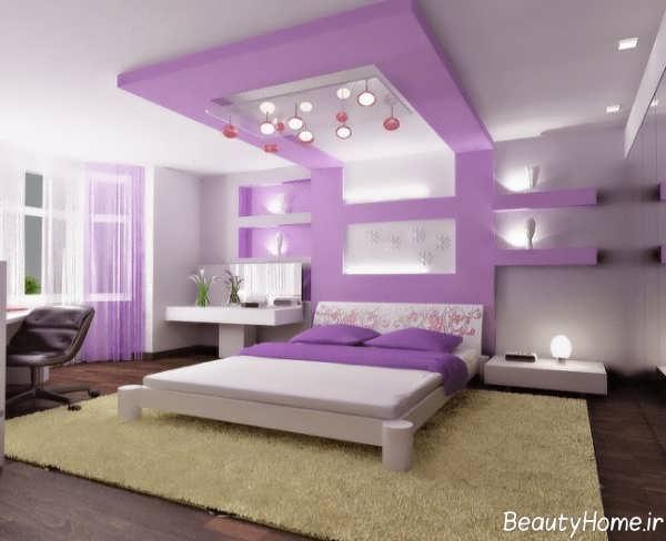 دکوراسیون سفید و بنفش برای اتاق خواب