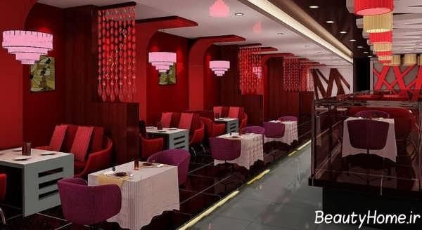 دکوراسیون قرمز داخلی رستوران