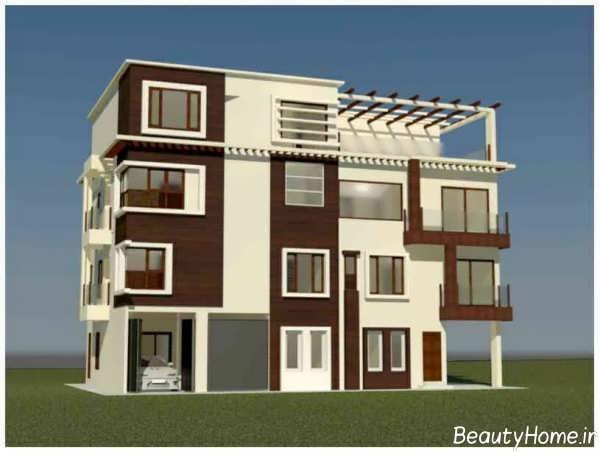 نما ساختمان مسکونی با رنگ های قهوه ای و سفید