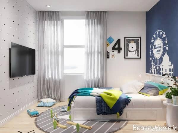 طراحی اتاق خواب نوجوان خانه اروپایی ساده