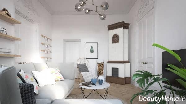 طراحی اتاق نشیمن اروپایی ساده