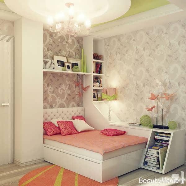 دکوراسیون اتاق خواب کودک دختر با فضای کوچک
