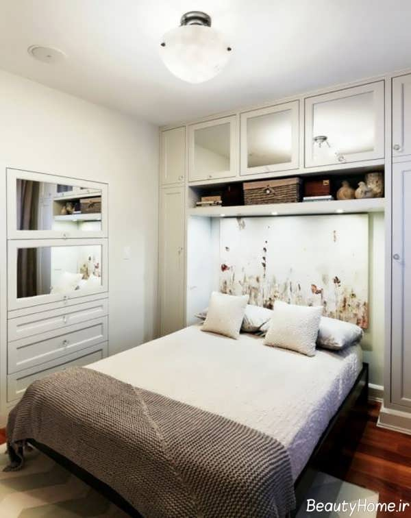 دکوراسیون رنگ سفید در اتاق خواب کوچک