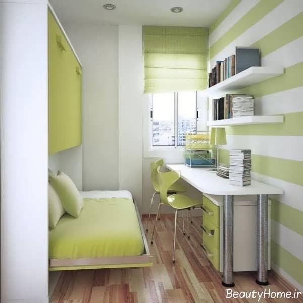 دکوراسیون زیبای اتاق خواب خیلی کوچک
