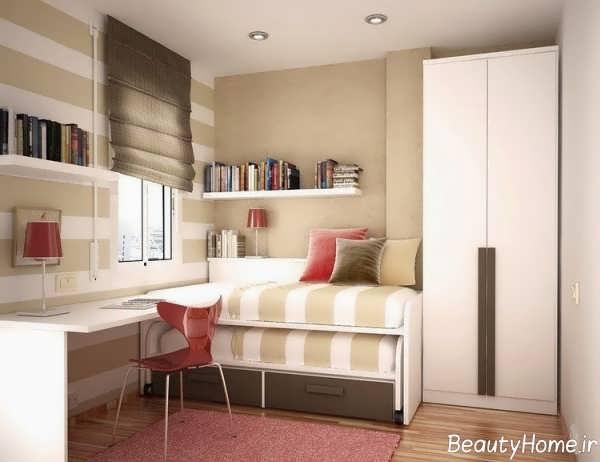 دکوراسیون مدرن اتاق خواب خیلی کوچک