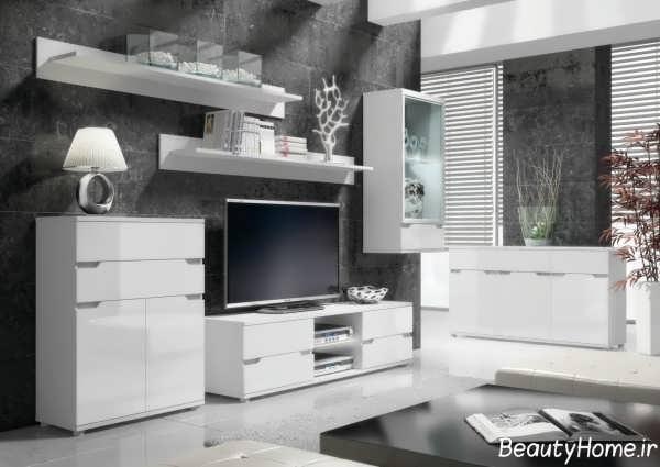 مدل میز تلویزیون های گلاس سفید