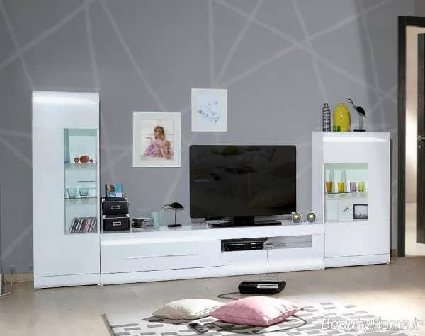 مدل میز تلویزیون سفید و شیک های گلاس