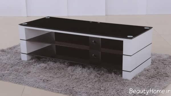 مدل میز تلویزیون سفید و مشکی های گلاس