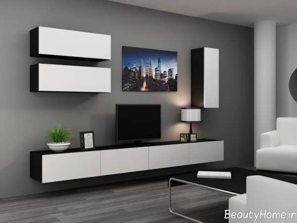 مدل میز تلویزیون سفید و مشکی