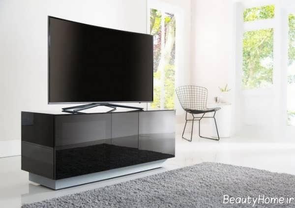 مدل میز تلویزیون مشکی های گلاس