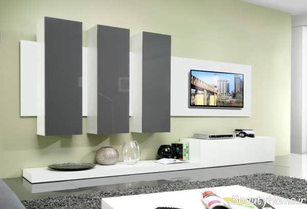 مدل میز تلویزیون سفید و خاکستری