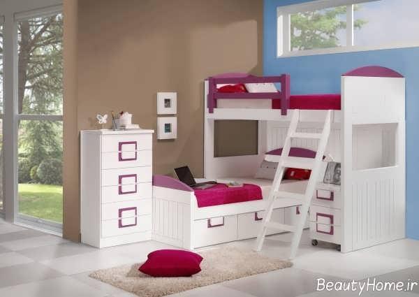 مدل تخت خواب سفید دو طبقه