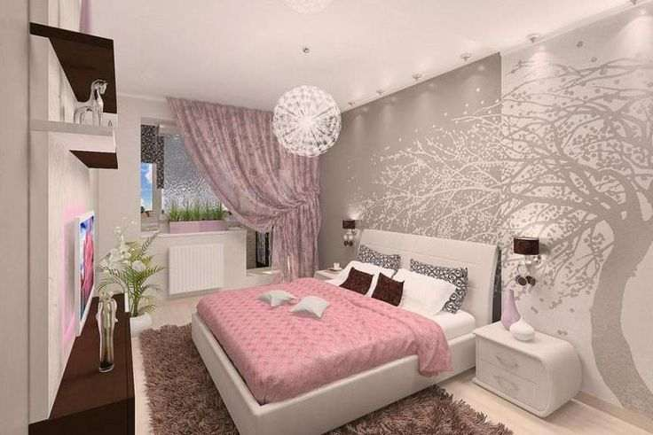 for Pink and grey bedroom wallpaper