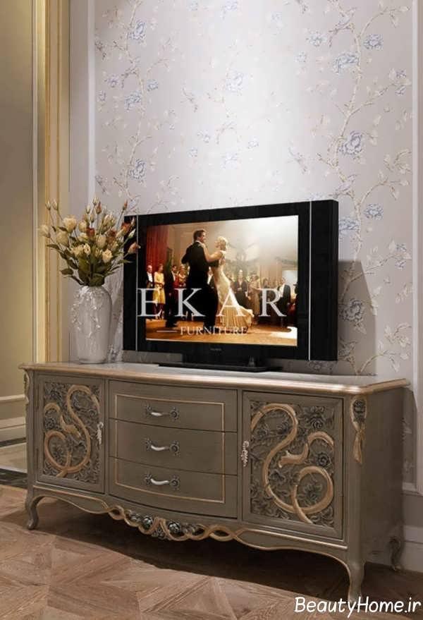 مدل میز تلویزیون خاکستری جذاب کلاسیک