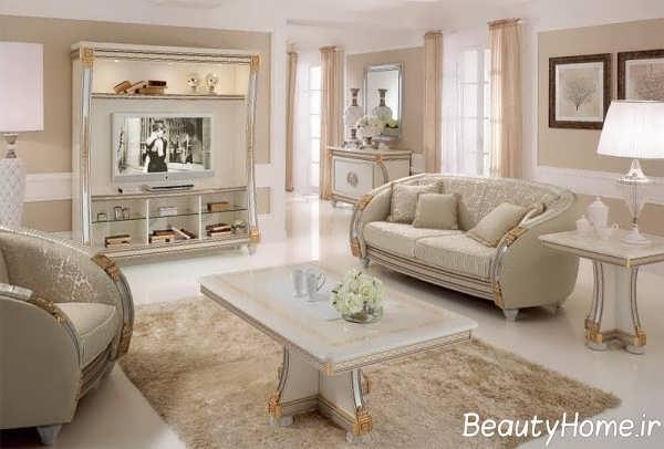 تصاویر میز تلویزیون سفید کلاسیک