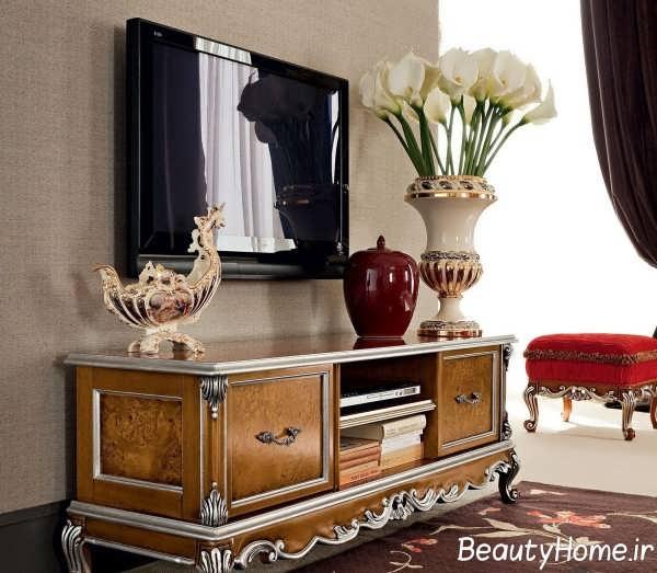 مدل میز تلویزیون قهوه ای منحصر به فرد کلاسیک