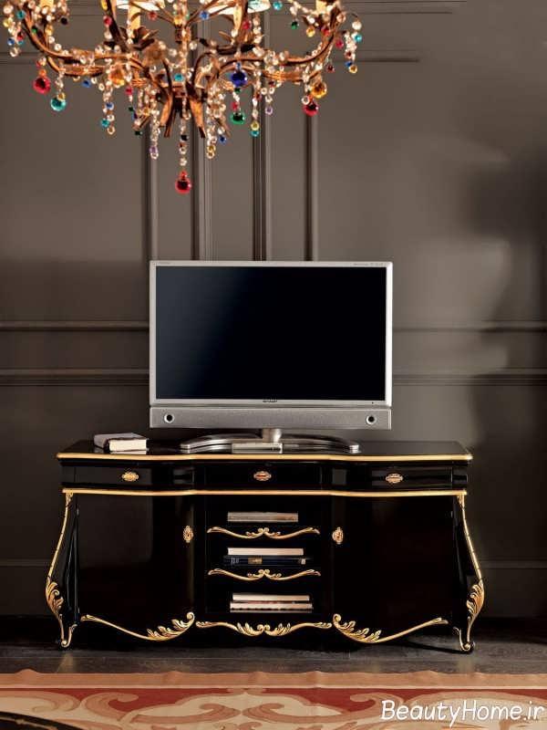 مدل میز تلویزیون مشکی طلایی کلاسیک