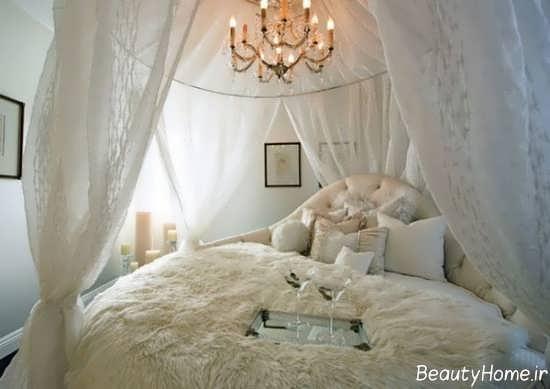 تزیین ساده و متفاوت تخت خواب با تور