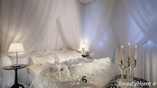 تزیین زیبا و خلاقانه تخت خواب با تور
