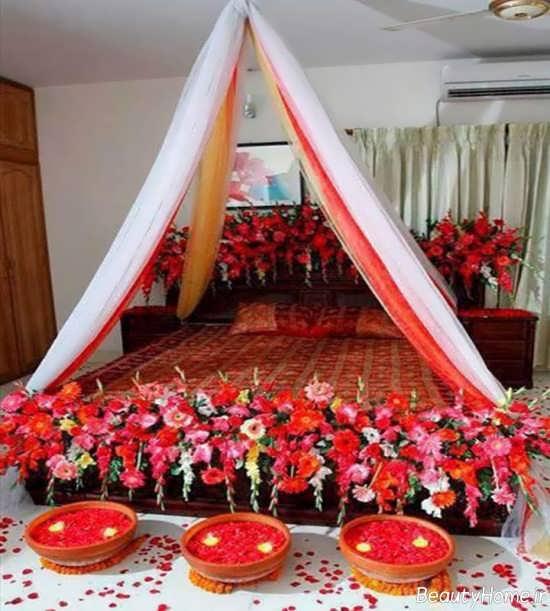 تزیین تخت خواب با تور سفید و قرمز