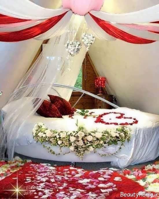 تزیین تخت خواب با تور و گل
