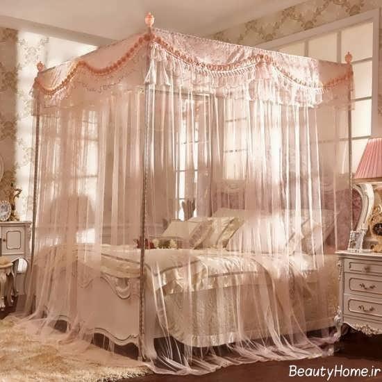 تزیین ساده تخت خواب با تور