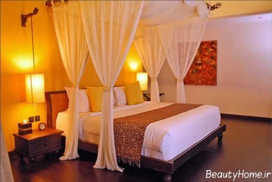 تزیین ساده و زیبا تخت خواب