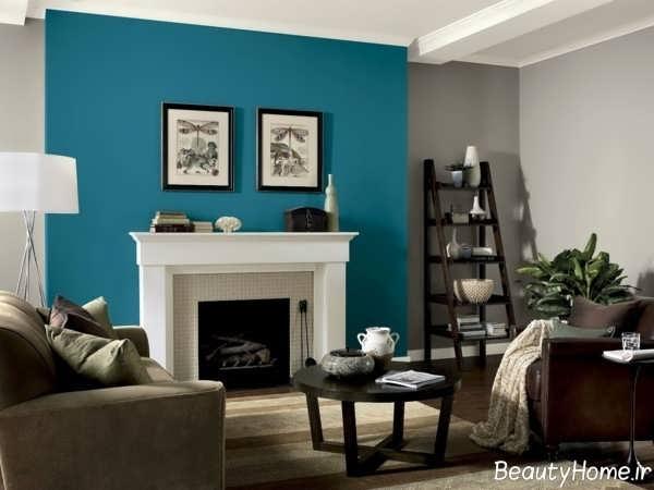 رنگ زیبا و شیک برای دیوار سالن پذیرایی