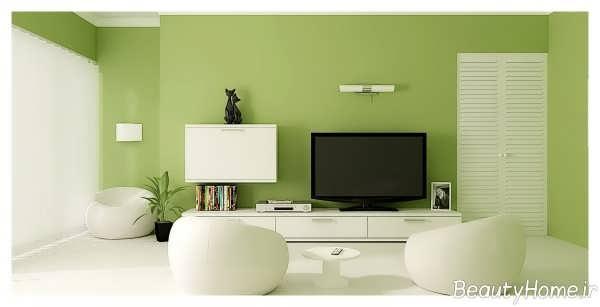 دکوراسیون سبز و سفید سالن پذیرایی