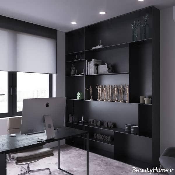 دکوراسیون داخلی خانه ال شکل با رنگ های تیره