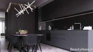 دکوراسیون زیبا و شیک آشپزخانه تیره