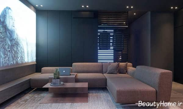 طراحی اتاق نشیمن ال شکل