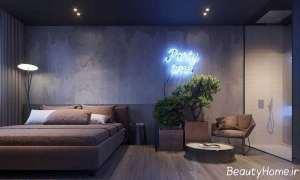 طراحی داخلی اتاق خواب با رنگ تیره