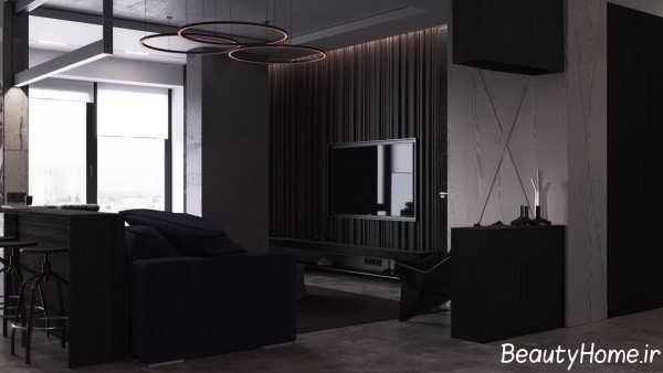 طراحی داخلی سالن پذیرایی ال شکل