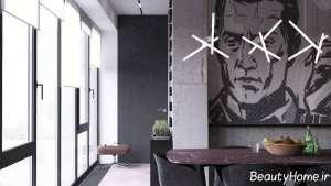 دکوراسیون خانه ال شکل با رنگ های تیره