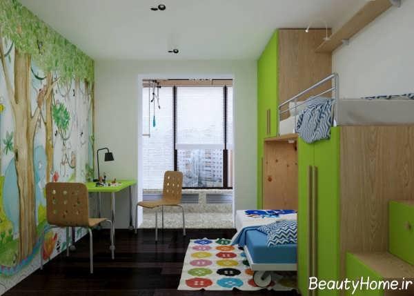 طراحی داخلی رنگ سبز اتاق جوانان