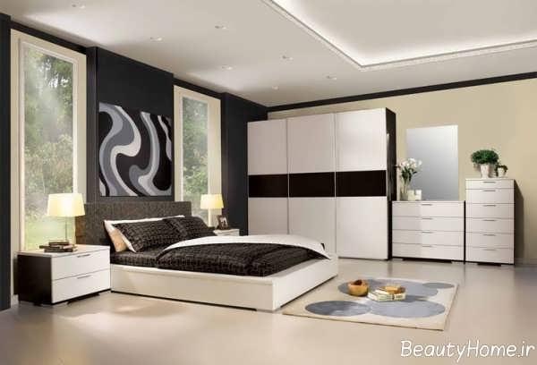طراحی داخلی سفید مشکی اتاق جوانان
