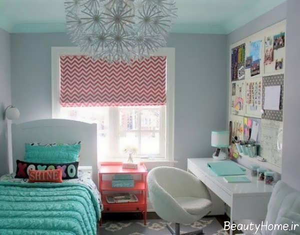 طراحی داخلی آبی رنگ اتاق جوانان