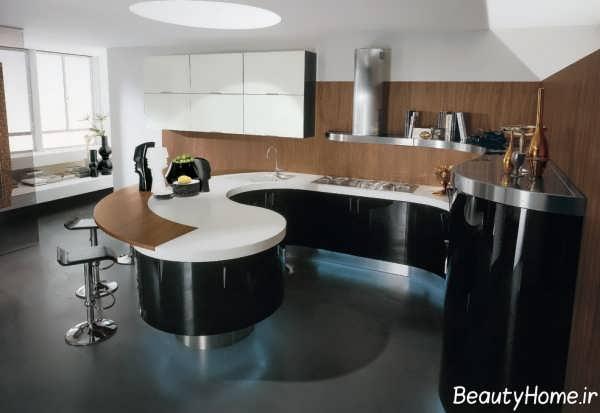 دکوراسیون مشکی و قهوه ای آشپزخانه مدرن ایتالیایی