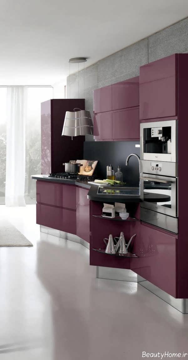 دکوراسیون مدرن و بنفش آشپزخانه