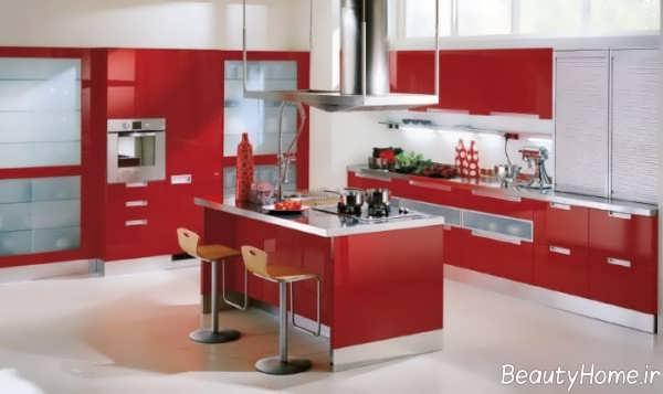 دکوراسیون قرمز آشپزخانه ایتالیایی