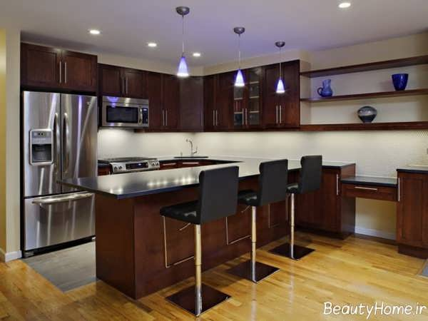 دکوراسیون قهوه ای و شیک آشپزخانه