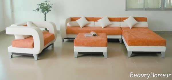 مدل مبلمان راحتی سفید و نارنجی