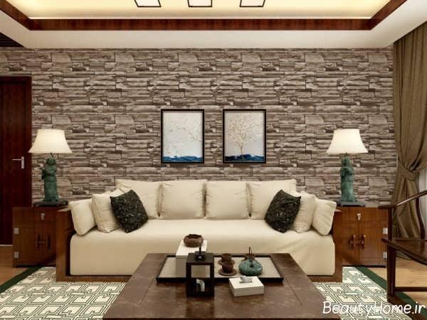 مدل کاغذ دیواری قهوه ای سالن پذیرایی