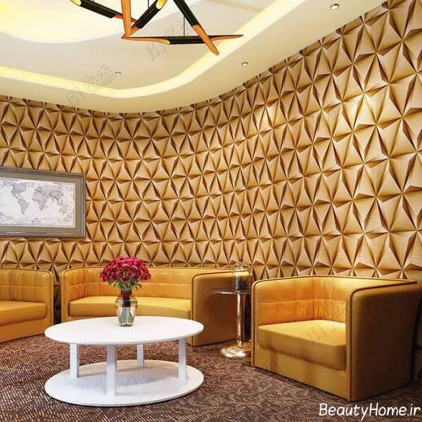 مدل کاغذ دیواری طلایی برای سالن پذیرایی