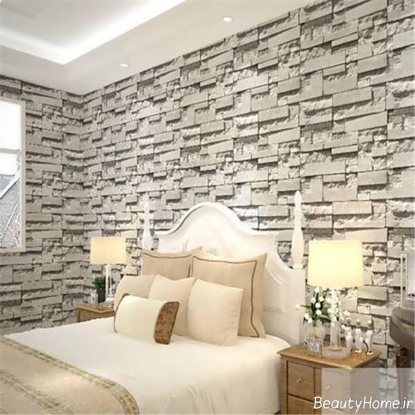 مدل کاغذ دیواری طرح دار اتاق خواب