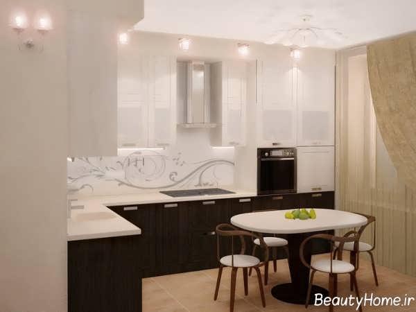دکوراسیون سفید و قهوه ای آشپزخانه