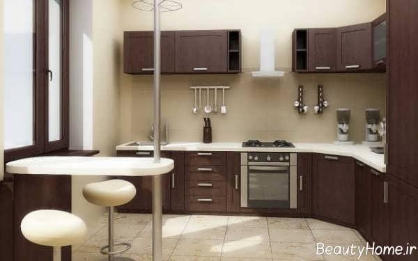 دکوراسیون آشپزخانه معمولی قهوه ای